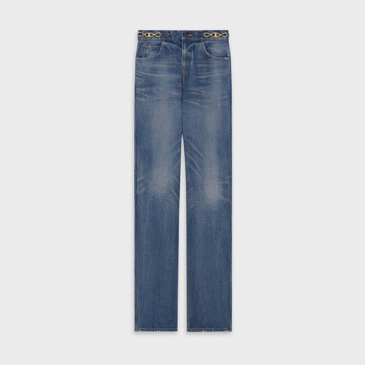 水洗藍色綴凱旋門鎖鍊標誌喇叭牛仔褲,28,500元。圖/CELINE BY HE...
