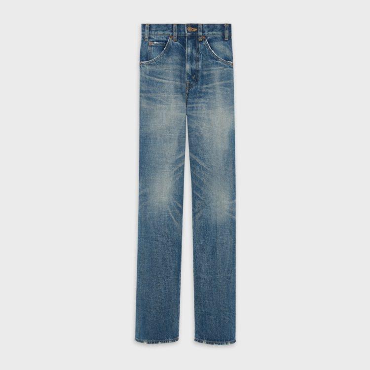 水洗藍色斜紋布喇叭牛仔褲,24,500元。圖/CELINE BY HEDI SL...