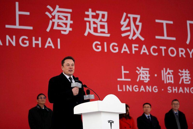 特斯拉執行長馬斯克去年1月參加上海超級工廠的動工典禮。 路透