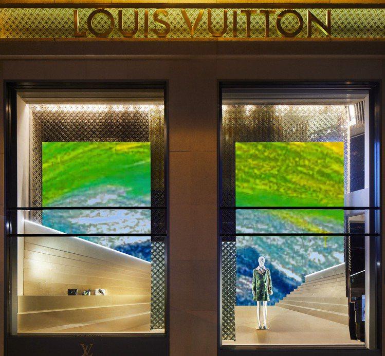 路易威登巴黎香榭麗舍大道店展出一系列當地兒童設計的彩虹。圖/LV提供