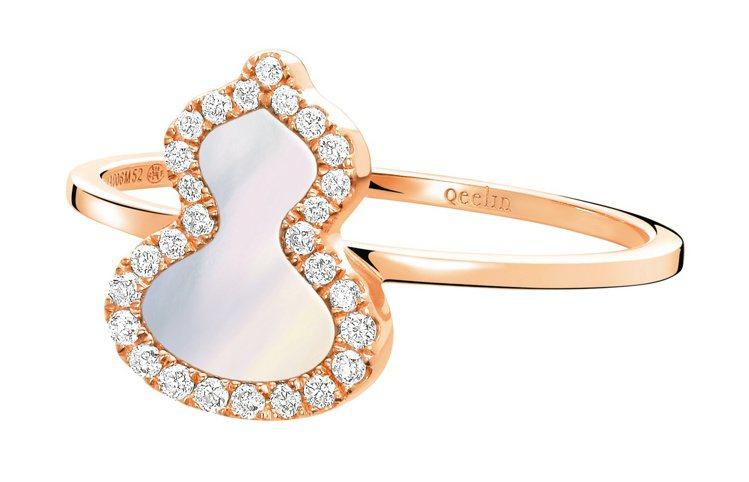 Qeelin,Petite Wulu系列,18K 玫瑰金鑲鑽珍珠母貝戒指,43,...