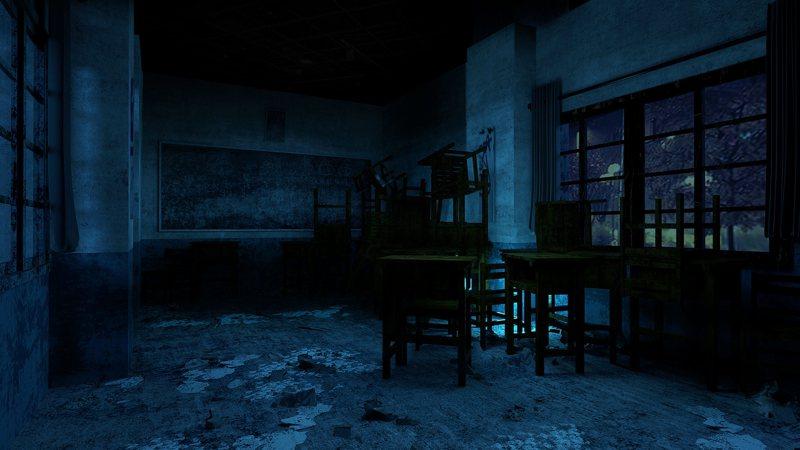 「返校」體驗區中的教室場景示意圖,場面逼真詭譎。 圖/聯合數位文創提供
