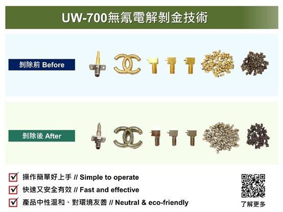 優勝奈米科技的UW-700無氰電解剝金技術。 優勝奈米科技/提供