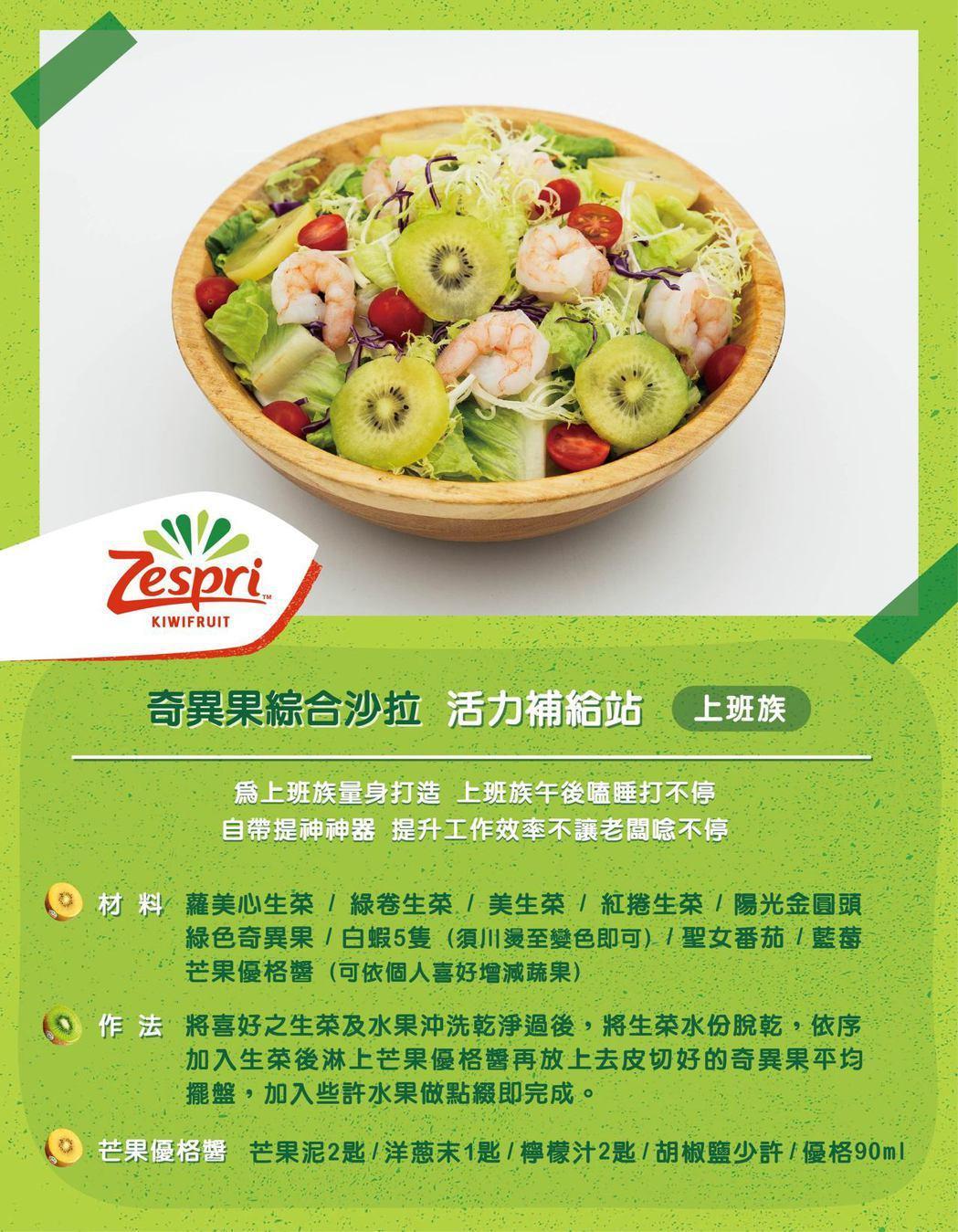綜合美生沙拉加上奇異果,讓上班族吃了零負擔,更能提昇工作效率。 圖/Zespri...