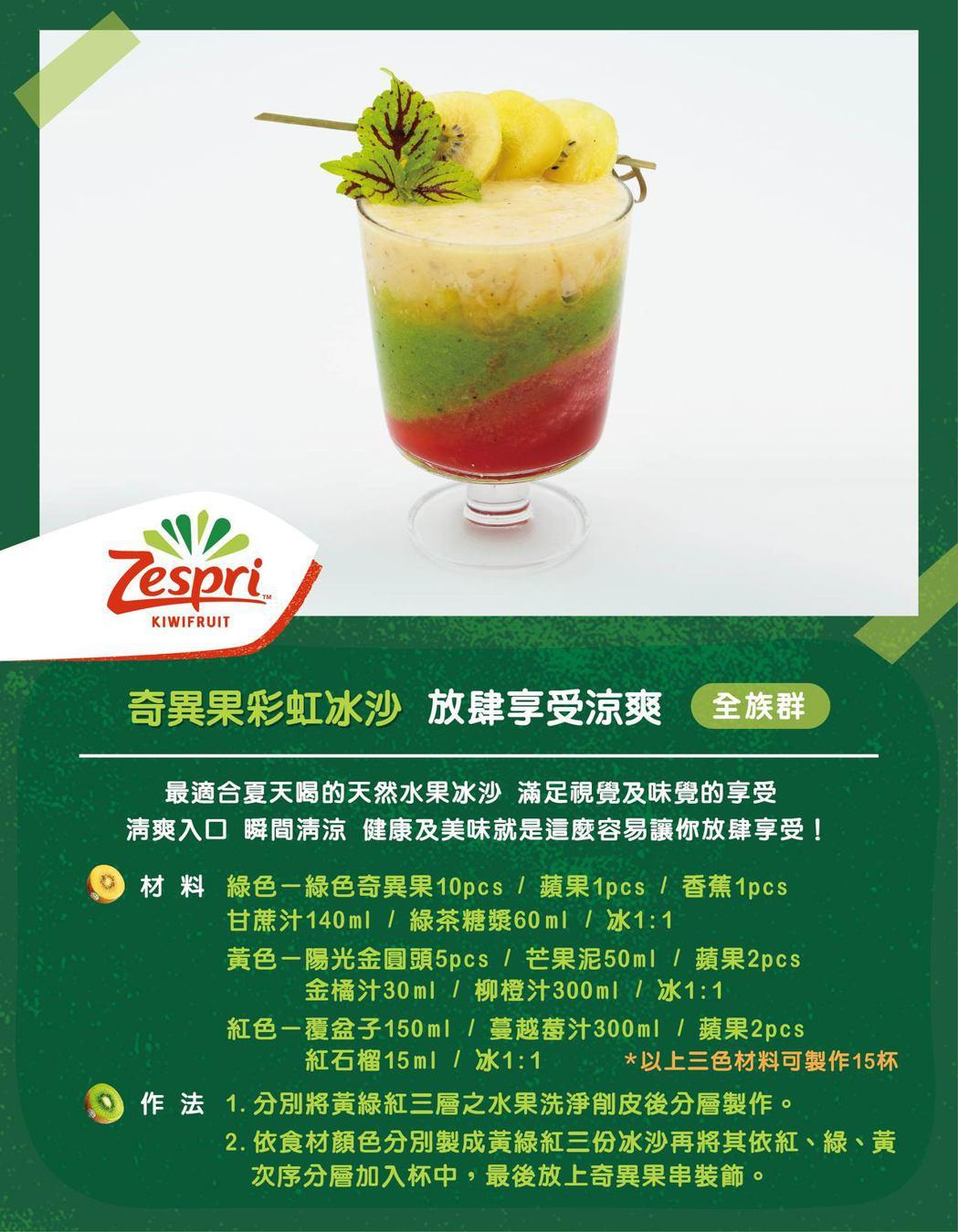 Zespri冰沙,在家就能輕鬆DIY。 圖/Zespri 提供