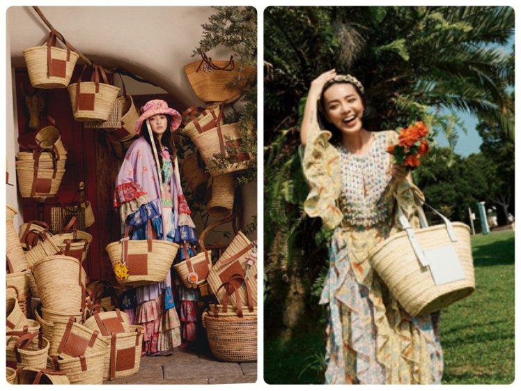 LOEWE每年夏季都會推出各式編織包款,KOL李函也詮釋了竹籃草編包。圖/取自I...