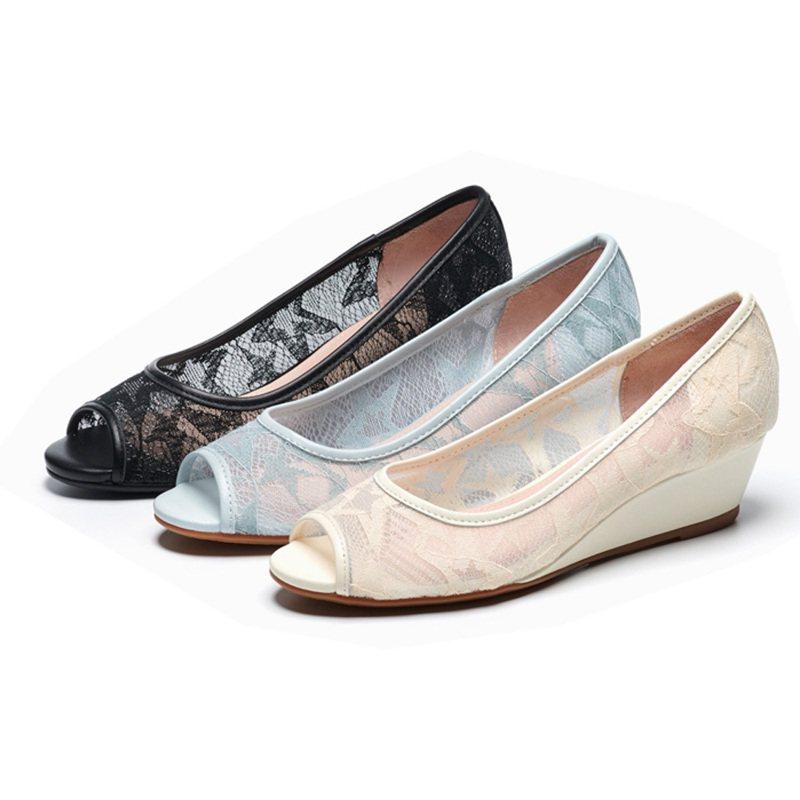 AS集團雅致星星網紗魚口楔型鞋,momo購物網活動優惠價1,000元。圖/momo購物網提供