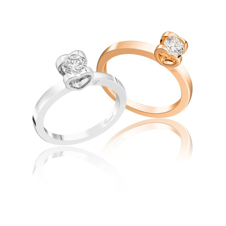 蕭邦婚戒系列,鉑金或18K玫瑰金鑲嵌明亮式切割0.5克拉鑽石戒指,價格店洽。圖/...