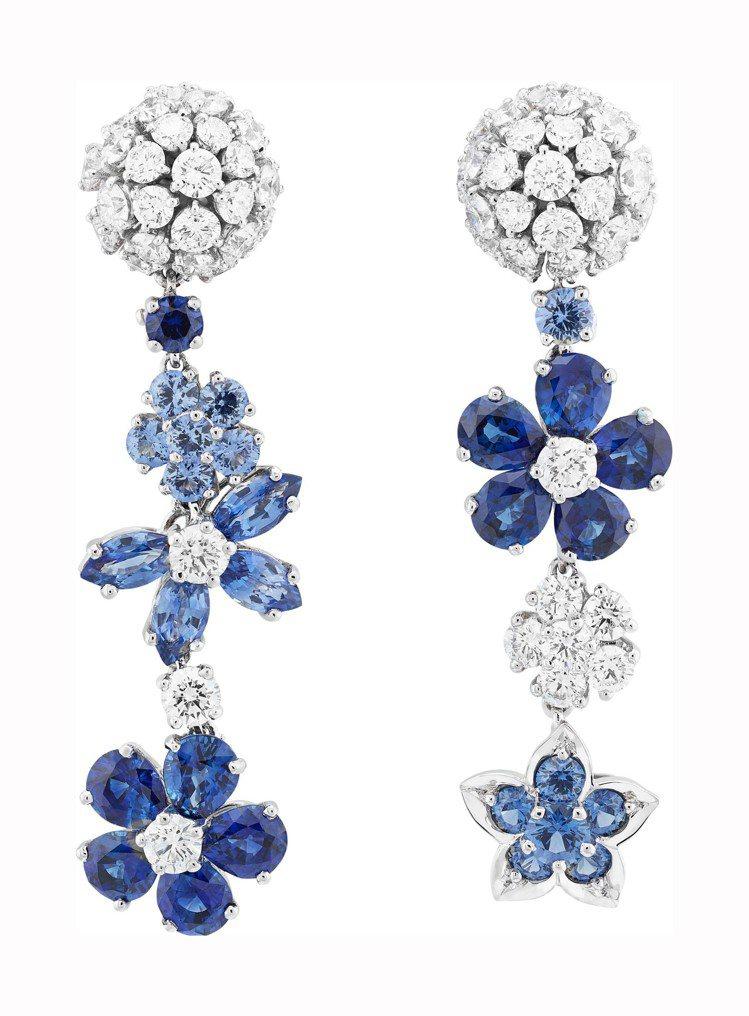 梵克雅寶Folie des Prés耳環,白K金藍寶石鑽石手鍊,199萬元。圖...