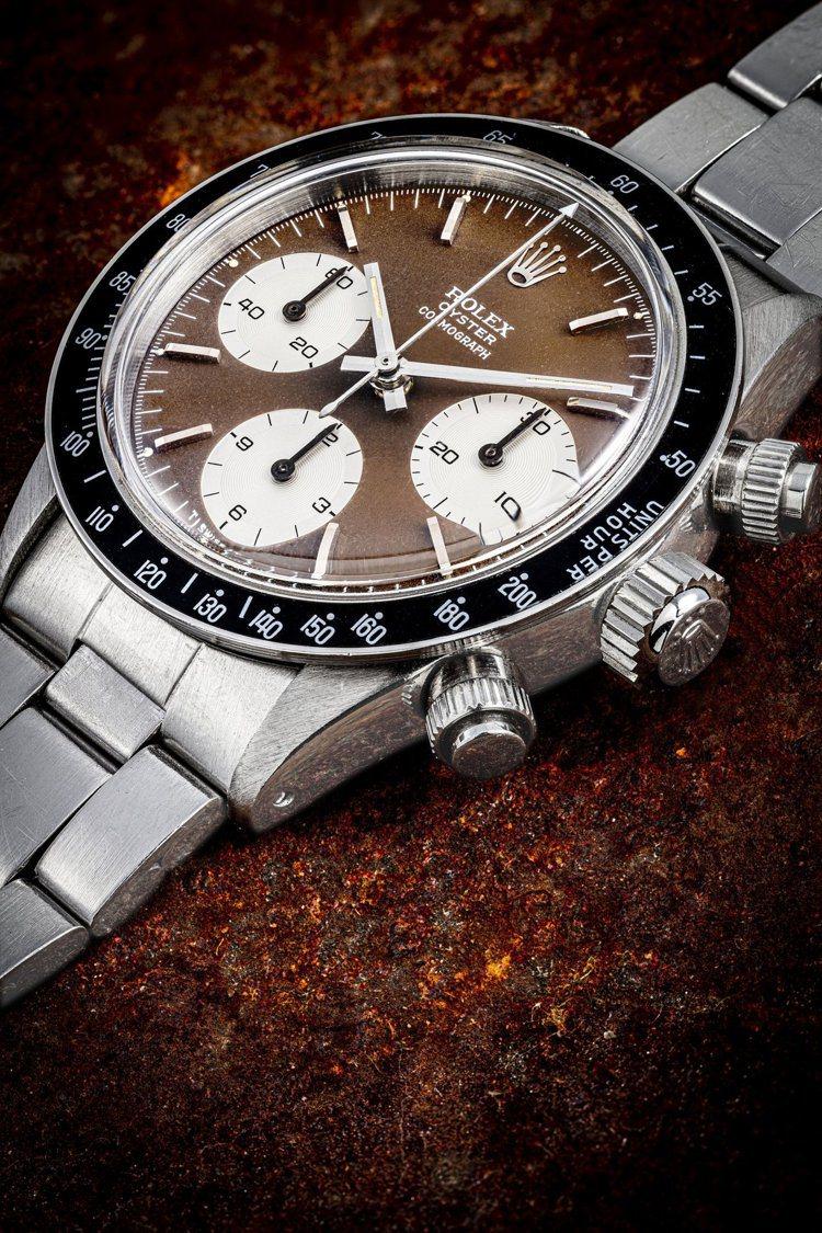 勞力士型號6263迪通拿計時碼表,配不銹鋼鍊帶及熱帶棕色表盤,約1971年製,估...
