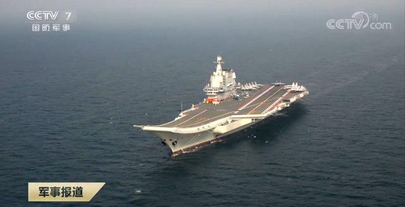 山東艦今年首次出海訓練。圖/央視截圖