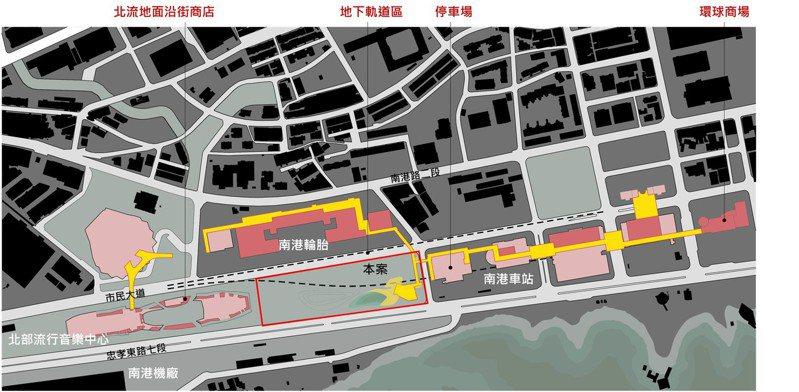 北市府挑選南港車站、北部流行音樂中心的街廓,計畫打造全長約800公尺的「南港綠廊」示範點,台北市都審會昨修正通過,拚2022年底完工。示意圖/北市都發局提供
