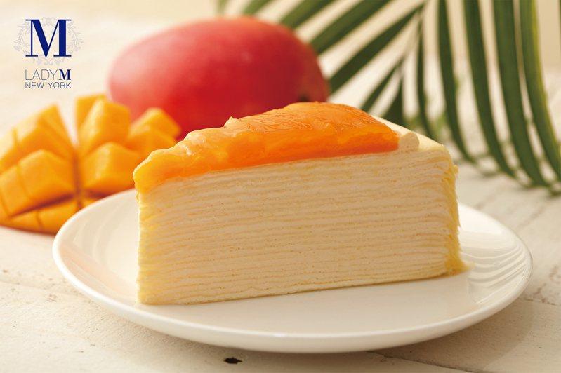 芒果千層蛋糕,9吋2,900元,單片2,90元。圖/Lady M提供