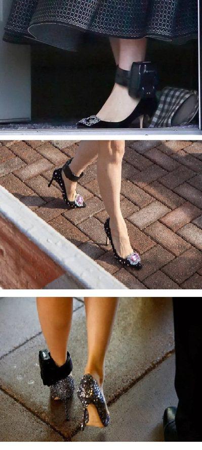 閃亮亮的鞋搭配電子腳鐐。 圖/翻攝自網路