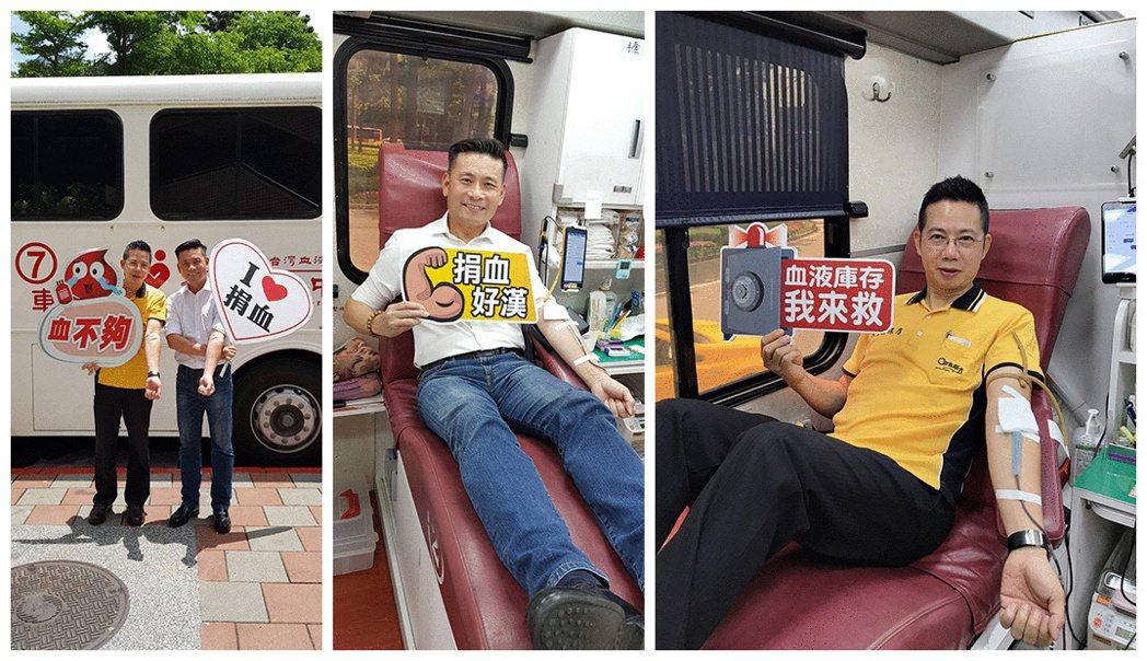 左:台北市議員戴錫欽(圖右)、21世紀不動產民生圓環店點長廖偉宏(圖左)熱血響應...