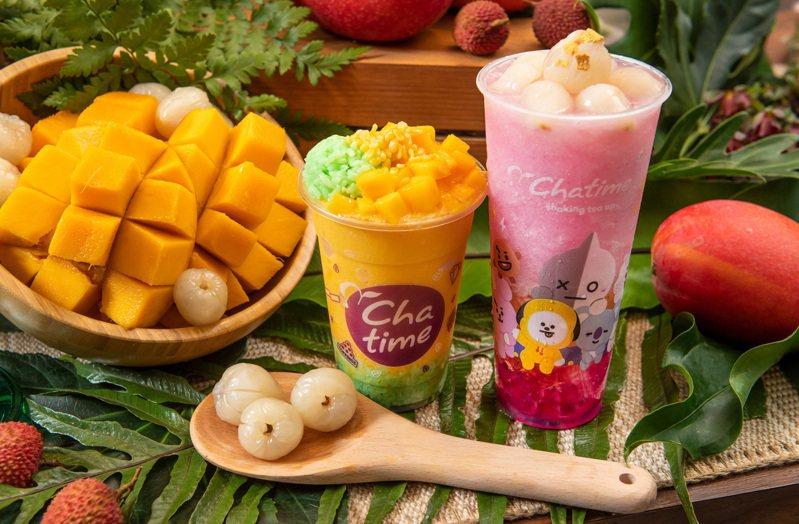 日出茶太推出「霸氣芒果王」、「黃金荔之后」等兩款甜點系飲品。圖/日出茶太提供