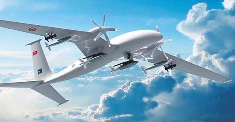 土耳其24日公布最新一代「遊騎兵(AKINCI)」重武裝無人機。圖/取自網路