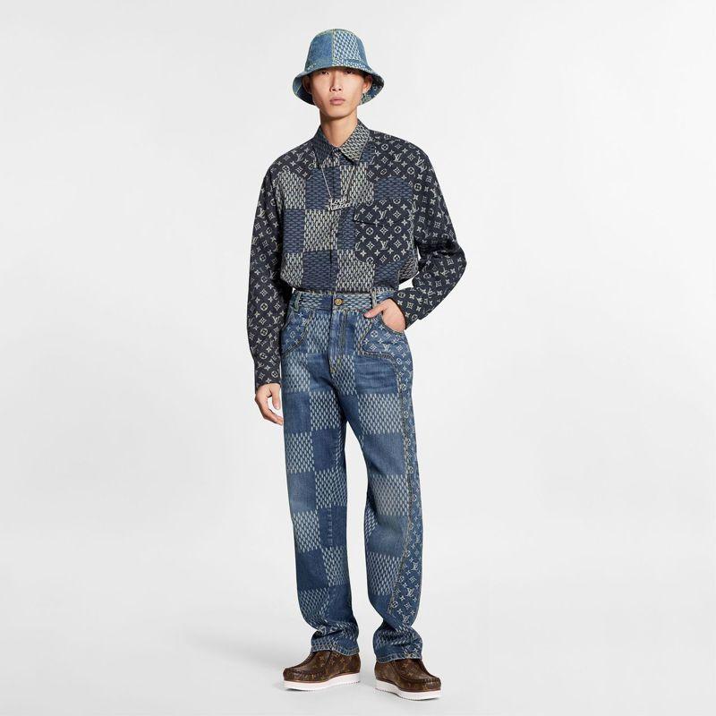 Damier Giant Wave Monogram漁夫帽25,700元、長褲54,500元。圖/LV提供