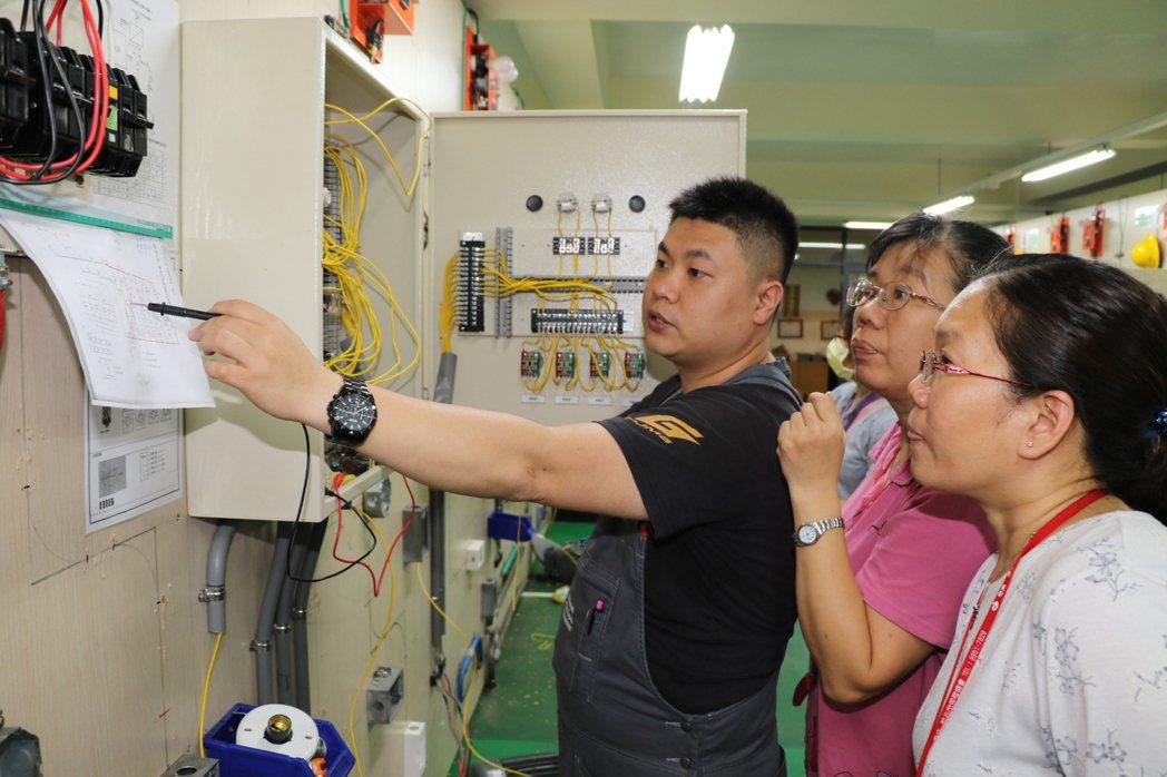 新北市光啟高中教師陳彥霖(左)為媽媽學員詳細解說。記者施鴻基/攝影