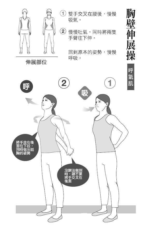 ● 胸壁伸展操(呼氣肌) 1. 雙手交叉在腰後,慢慢吸氣。 2. 慢慢吐...