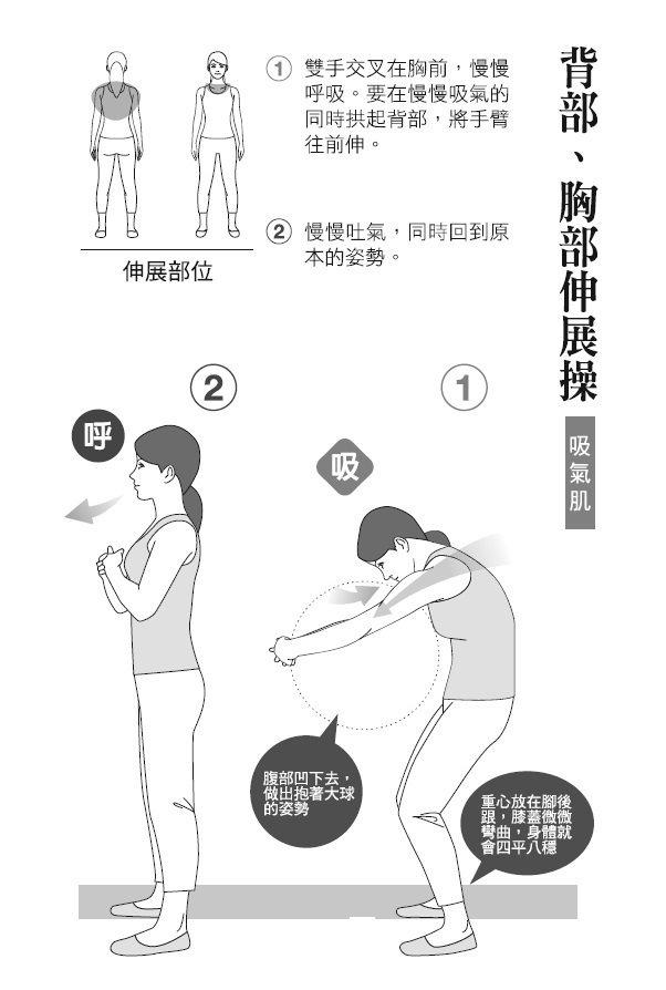 ● 背部、胸部伸展操(吸氣肌) 1. 雙手交叉在胸前,慢慢呼吸。要在慢慢吸氣...
