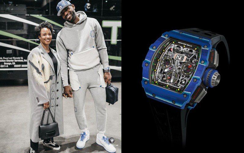 「小皇帝」LeBron James在母親節時,分別貼出兩張與妻子、母親的合照,當時手上則配戴了Richard Mille腕表。圖 / 翻攝自ig。