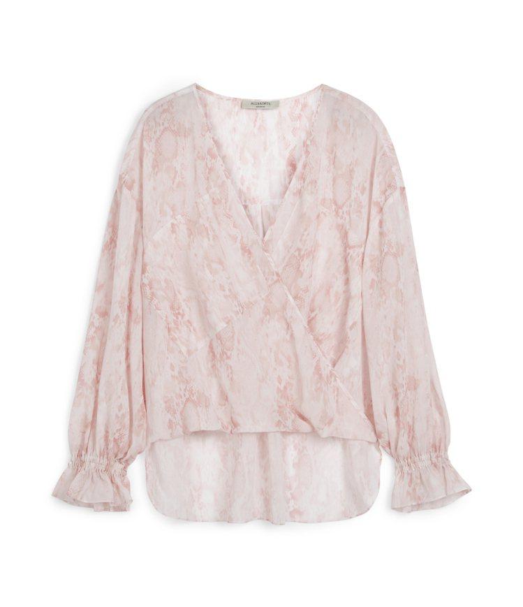 AllSaints Penny淡粉色暈染上衣5,000元。圖/AllSaints...