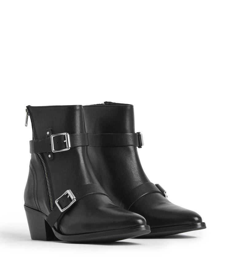 AllSaints Lior黑色雙釦環跟靴12,900元。圖/AllSaints...