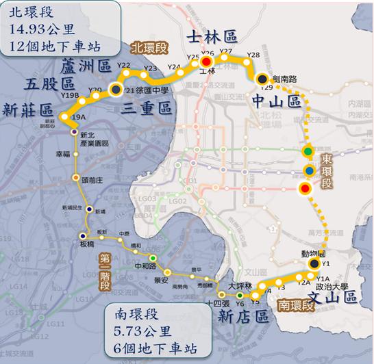 捷運環狀線北環段及南環段路線方案示意圖。圖/北市捷運局提供