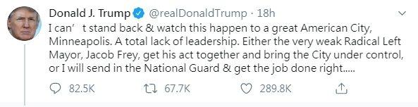 川普有關明州動亂推文,被推特標註「鼓動暴力」,可轉貼但不准點讚和回應。圖/世界日報提供