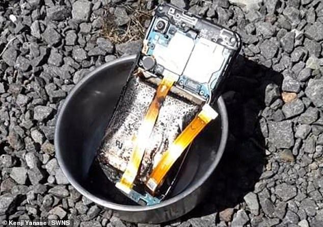 三星一款手機傳出爆炸意外。圖取自每日郵報