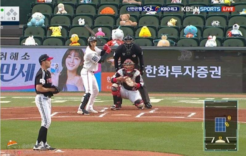 韓國職棒在看台擺玩偶當觀眾。圖取自2ch中文網