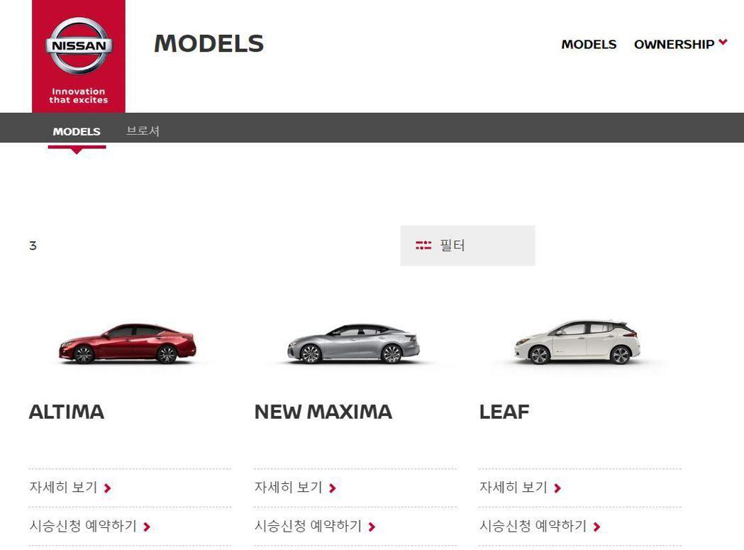 Nissan目前在韓國市場只剩下Altima、Maxima與Leaf三款車在銷售...
