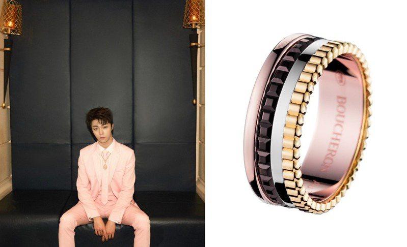 粉色系的西裝,正與玫瑰金的溫潤一拍即合。圖 / 翻攝自微博。