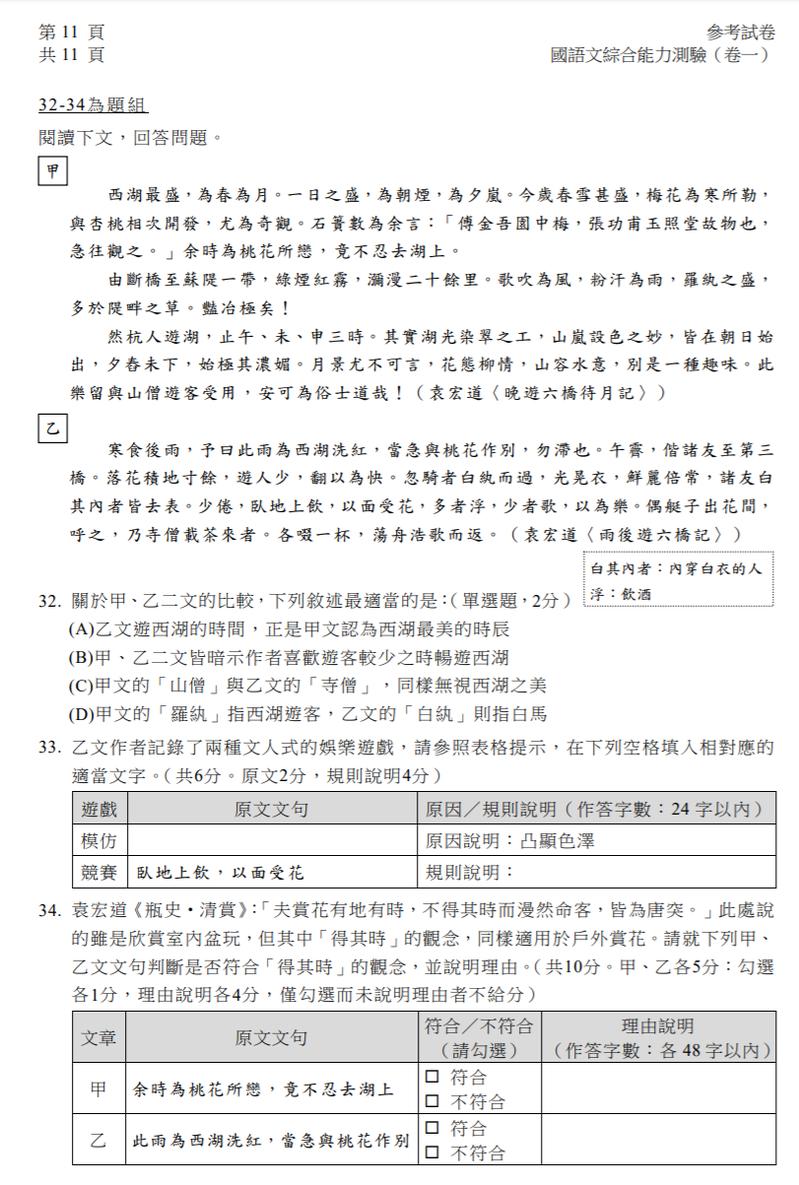 111年學測改採卷卡合一制,大考中心公告各科參考試卷,國文科也出現非選題。圖/取自大考中心官方網站