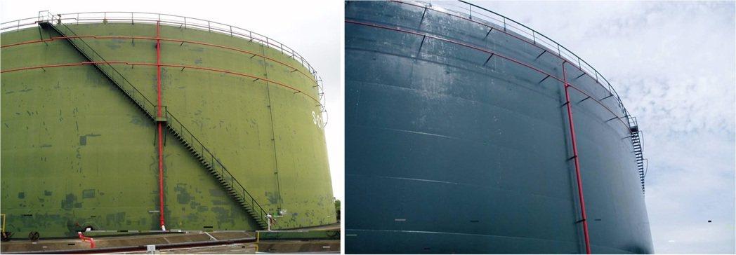 儲油槽採用高久護膜至今7年,施工前(左)後(右)比較圖。 高久/提供