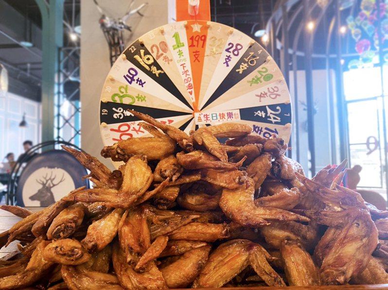 6月壽星只要符合資格即可轉動「生日風火輪」,輪盤每格都設有獎,最高可免費嗑199支雞翅。圖/千葉餐飲提供