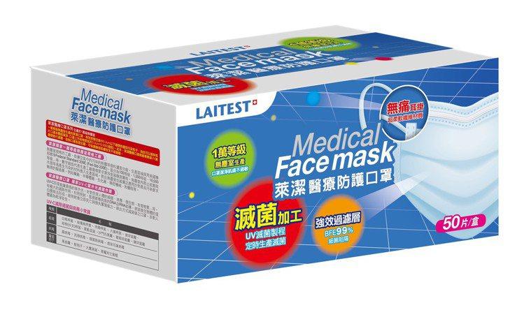 萊爾富6月2日凌晨0時起開賣醫療級防護口罩,每盒50片裝,單盒特價299元,全台...