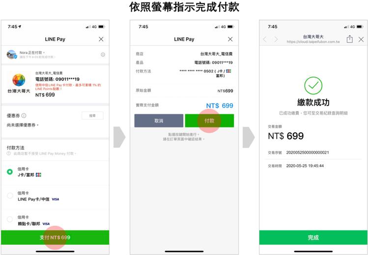 依照螢幕指示即可迅速透過LINE Pay線上快速繳款,不再怕忘記繳費。圖/LIN...