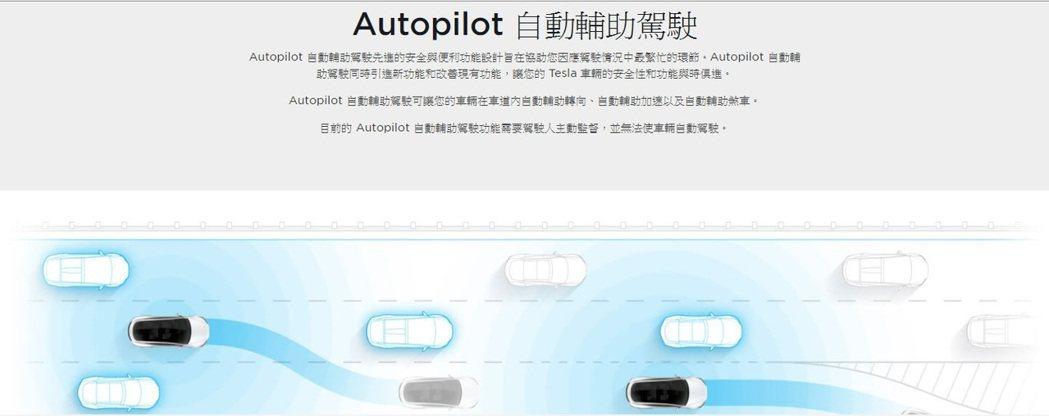 特斯拉台灣官網上有清楚說明,車主在使用「Autopilot自動輔助駕駛功能」時,...