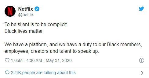 Netflix發聲喊話,強調「黑人的命也是命」。圖/摘自推特