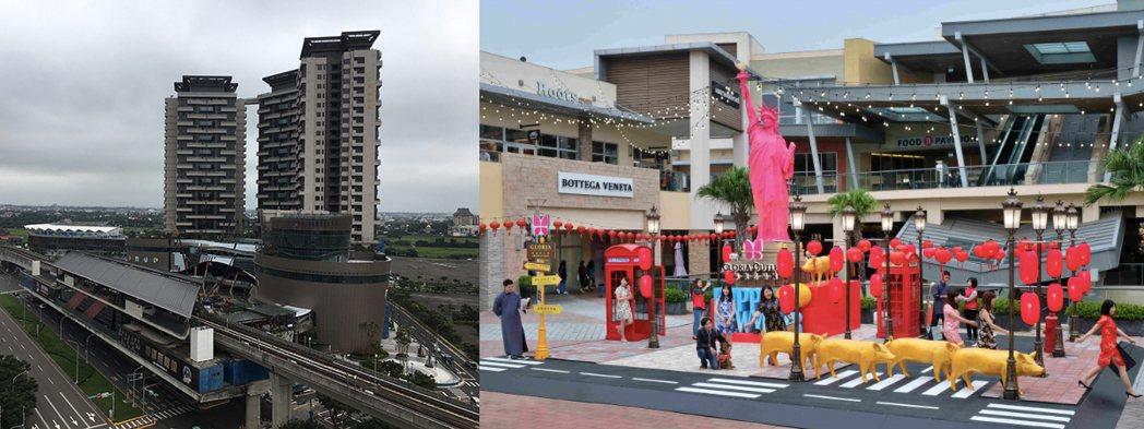 左:桃園機捷A19站及冠德環球購物中心。右:華泰名品城_資料來源華泰名品城官網。...