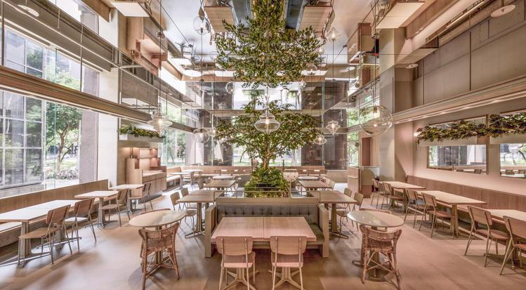 喜事集團投資的「小小樹食貳」,店的空間設計由宋安和爸爸宋毅聯手完成。圖/喜事提供