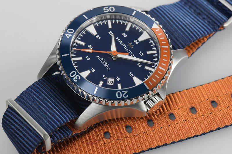 藍色為主、橘色為輔的雙色設計,令Hamilton Khaki Scuba腕表,充滿動感活力。圖 / Hamilton提供。