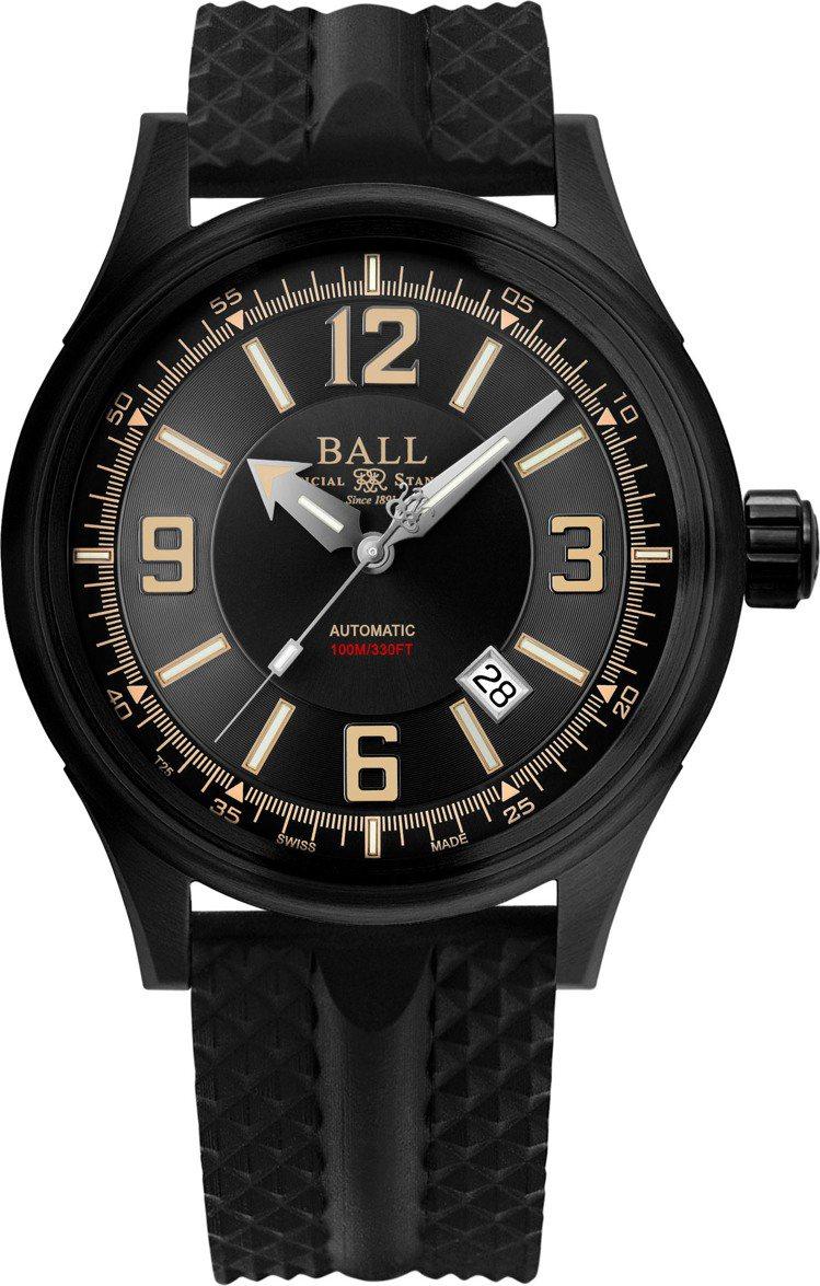 Ball,Fireman Racer DLC腕表,黑色PVD精鋼,43毫米,時間...