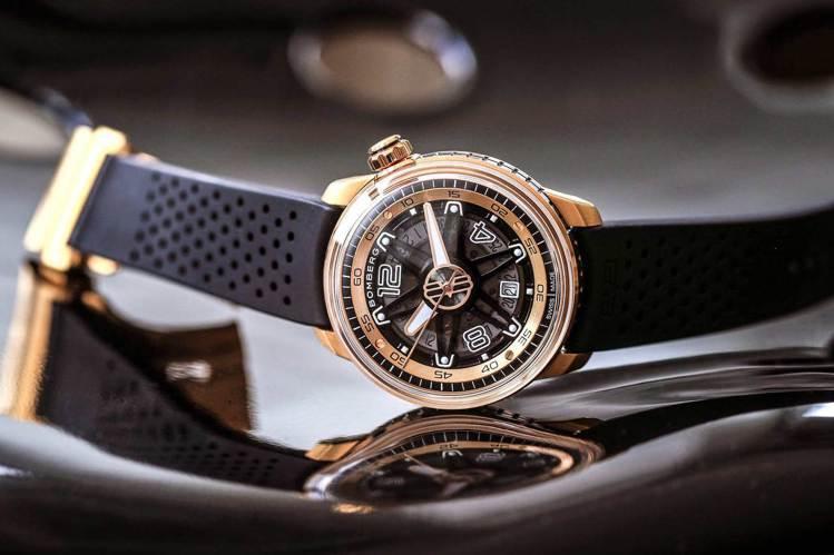 以輪框為靈感的Bomberg BB-01玫瑰金自動腕表,像一枚手上的時間風火輪。...
