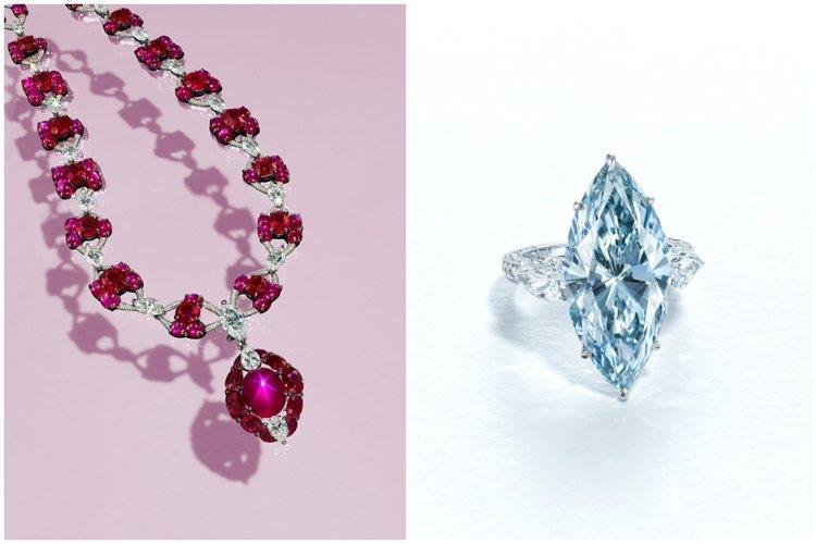 佳士得香港春拍,領銜的兩億藍鑽鑽戒與星光紅寶項鍊將隨預展於6月登台見客。圖/佳士...
