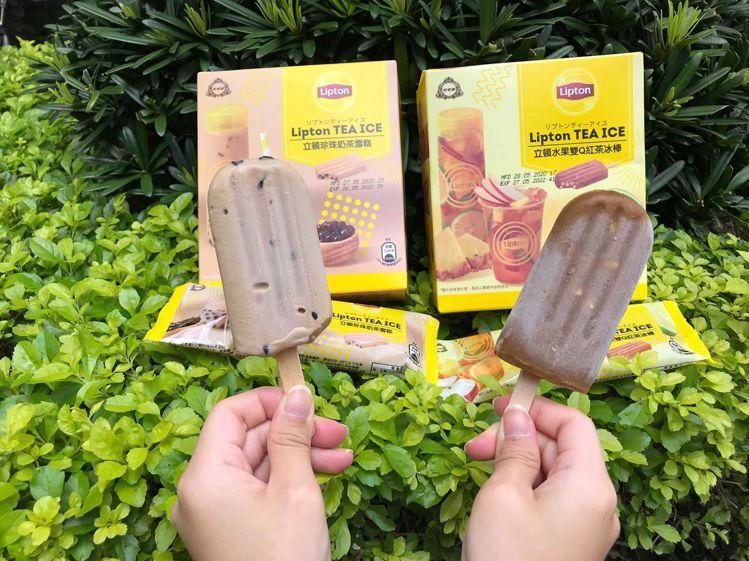 立頓與杜老爺合作推出台灣限定版的「珍珠奶茶雪糕」、「水果雙Q紅茶冰棒」。記者陳立...