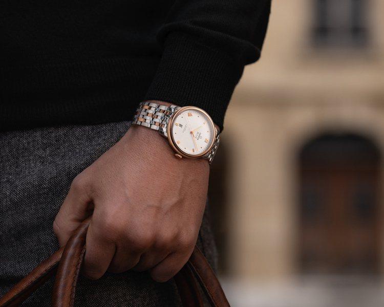 碟飛Prestige腕表大幅簡化過的表面,卻在指針、立體羅馬時標、圓點時標中呈現...