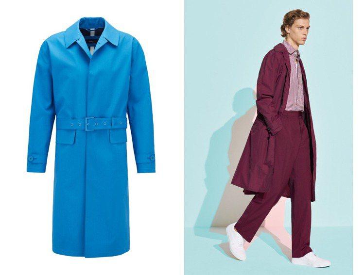 以色彩取勝的BOSS 2020春夏,長風衣另有酒紅色款式,挑戰男人對色彩的造型功...